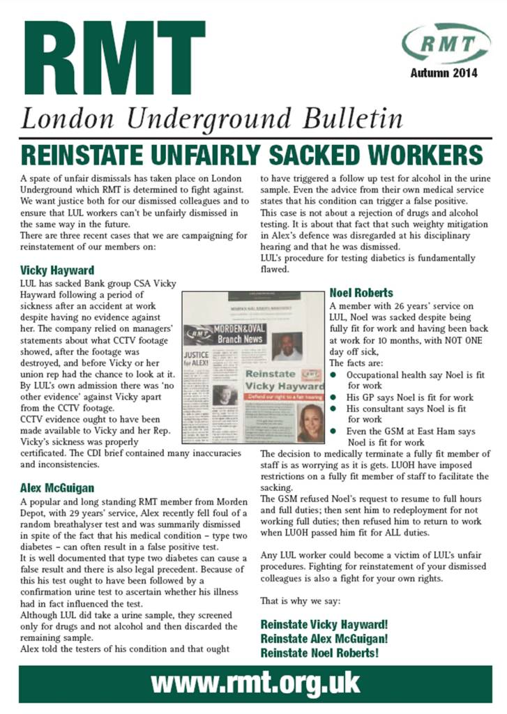 London Underground Bulletin Oct14
