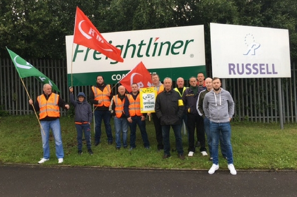 RMT Picket line at Freightliner Coatbridge this morning