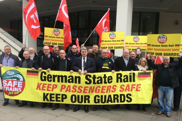 RMT Arriva Rail North protest at German Embassy today