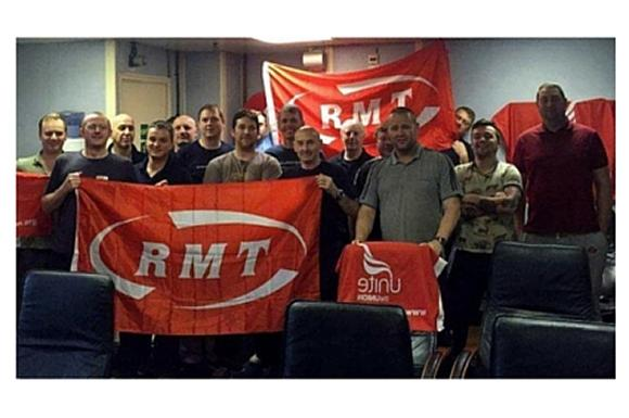 Striking RMT and Unite members on the Brent Charlie Platform