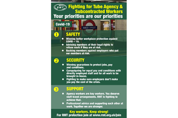 Tube Agency Workers Coronavirus Infographic