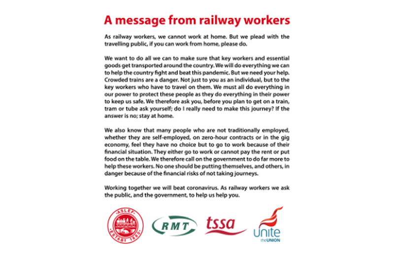 A message from railway workers
