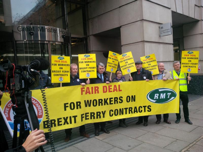 Workers protest at DfT over Brexit ferry Contracts