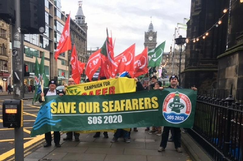 RMT protests over rail and seafarers in Edinburgh today