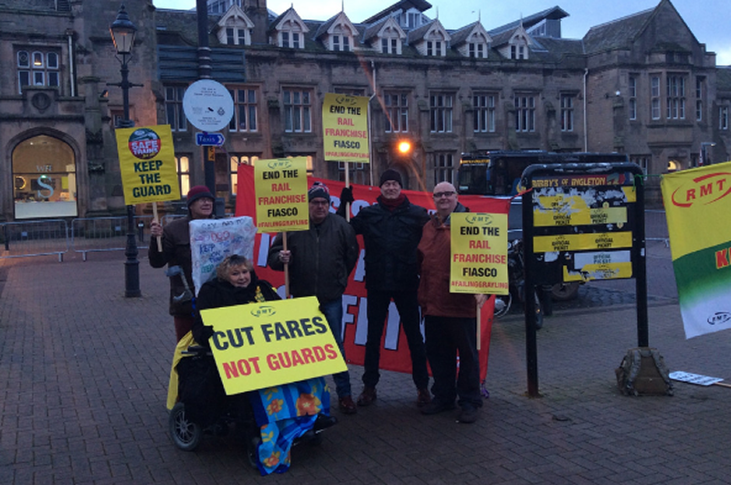RMT Northern Rail members standing solid