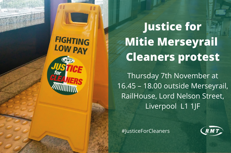 Justice for Mitie Merseyrail Cleaners demonstration