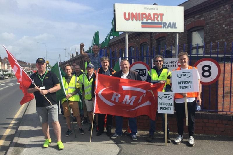 RMT Unipart rail members on strike today