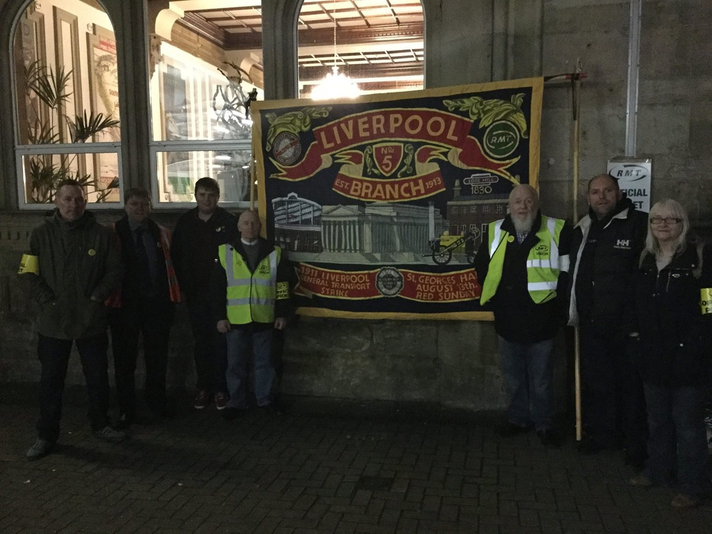 Press picture from Liverpool Lime Street picket line