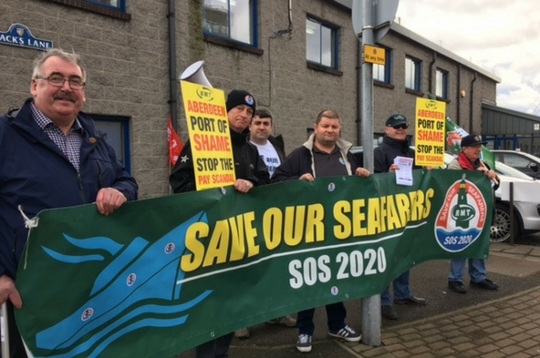 RMT protest in Aberdeen today against poverty pay